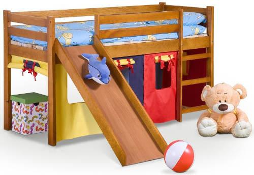 Dětská patrová postel se skluzavkou