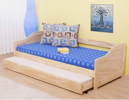 Jednolůžková postel s výsuvnou přistýlkou z borovicového masívu