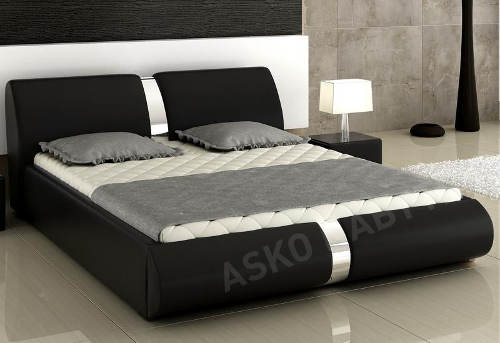 Moderní postel Arte 160x200 cm, černá ekokůže a lesklý chrom