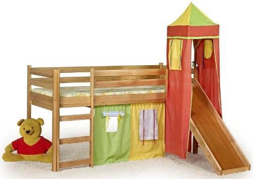 Patrová postel s domečkem a skluzavkou