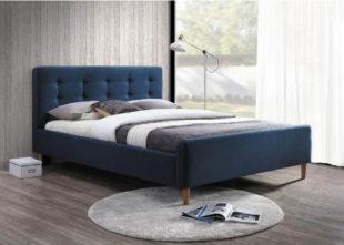 Tmavě modrá manželská čalouněná postel