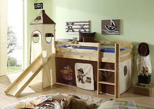 Zvýšená dětská postel se skluzavkou
