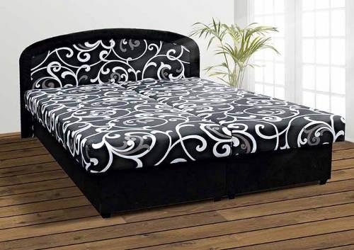 Černá čalouněná postel 160x200 s úložným prostorem