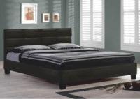 Manželská postel 160x200 cm čalouněná černou textilní kůží