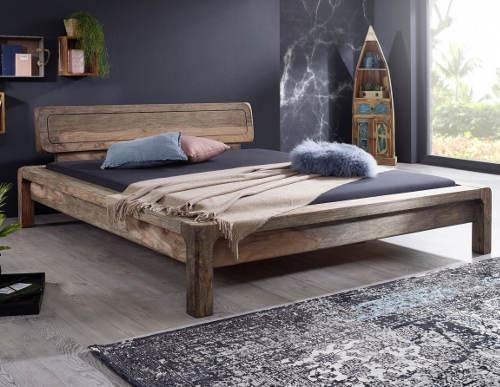 Šedá manželská postel z exotického dřeva