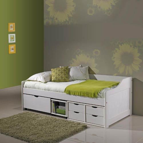 Bílá jednolůžková postel s šuplíky