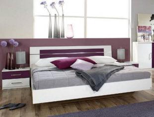 Bílo-fialová postel Burano 180x200 s nočními stolky