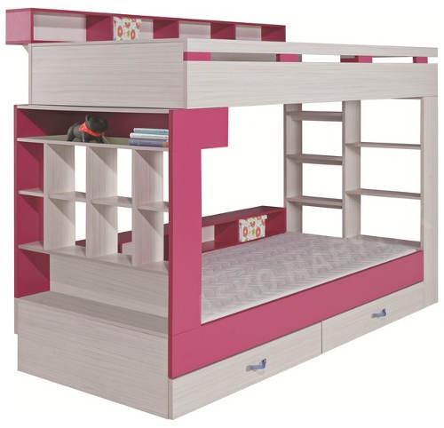 Bílo-růžová patrová postel