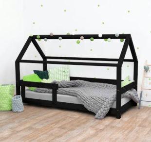 Černá dětská postel domeček s bočnicemi
