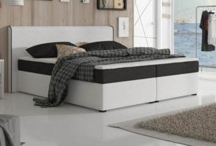 Černobílá boxspring postel 160 x 200 cm