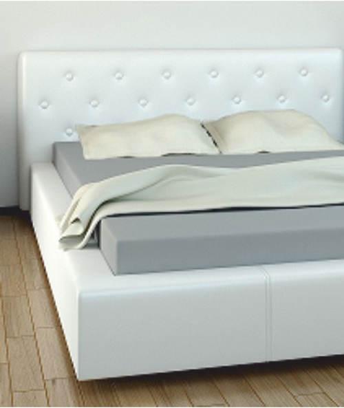 Čalouněná postel bílá ekokůže 160x200 cm