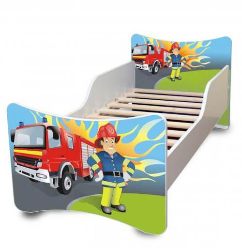 Dětská hasičská postel s lamelovým roštem