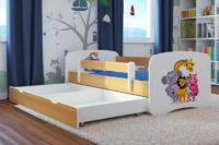 Dětská postel Zoo se zábranou a úložným prostorem