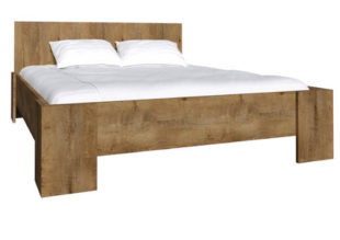 Dvoulůžková postel z lamina v netradičním dezénu