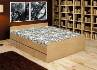 Jednoduchá postel z dřevotřísky s uložnými prostory