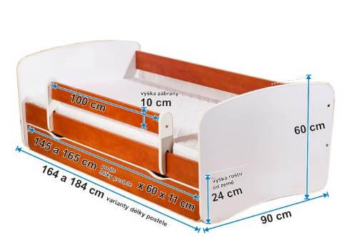 Kompletní rozměry dětské postele ZOO