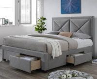 Šedá polstrovaná postel 180 s úložnými prostory