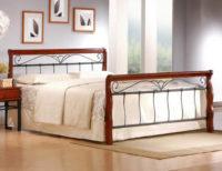 Vyvýšená postel 160x200 cm z kombinace dřeva a kovu