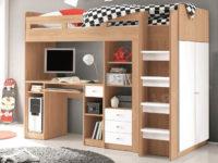 Zvýšená postel UNIT s pracovním stolem