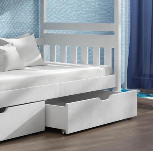 Bílá poschoďová postel borovice