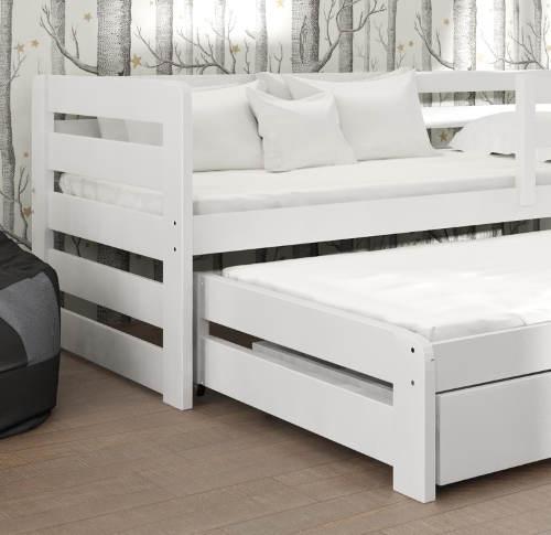 Bílá postel 90x200 s bočnicemi