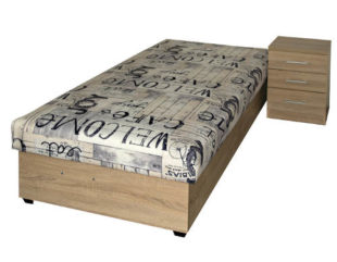 Čalouněná jednodílná postel do menšího pokoje