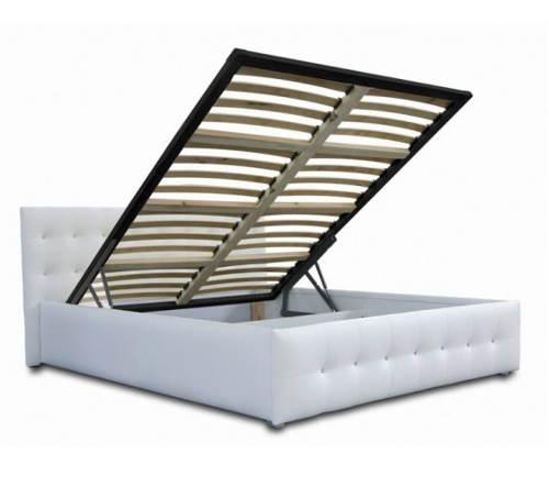 Čalouněná postel s výklopným roštem
