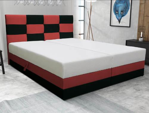 Červeno-černá čalouněná postel
