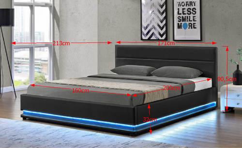 Kompletní rozměry černé čalouněné postele