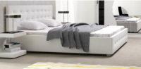 Luxusní postel 160 cm čalouněná bílou eko kůží