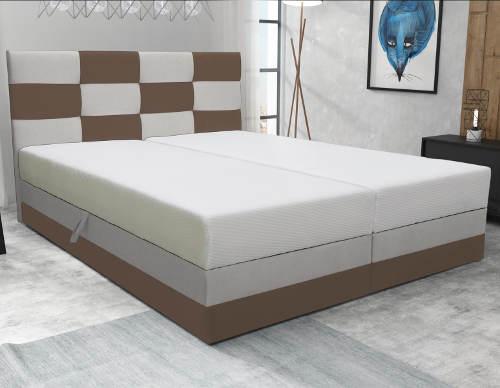 Kompletní manželská postel 160x200 cm s karovaným čelem