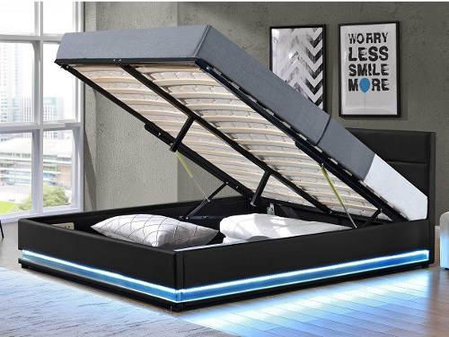 Manželská postel s úložným prostorem a led osvětlením