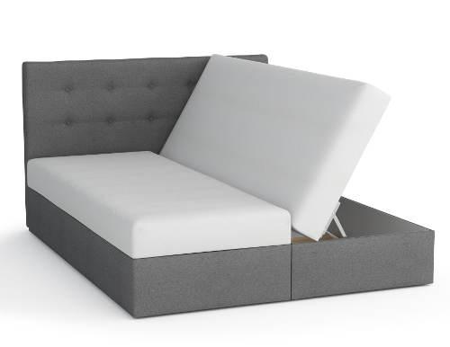 Manželská čalouněná postel včetně matrací