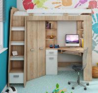 Multifunkční poschoďová postel včetně skříní, schodů a pc stolu