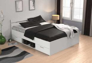 Perleťově bílá multifunkční postel Michigan s úložnými šuplíky