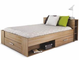 Praktická postel s mnoha úložnými a odkládacími prostory
