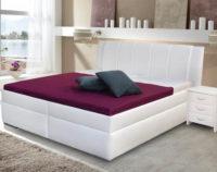 Bílá čalouněná jednolůžková postel s úložným prostorem a výklopným roštem