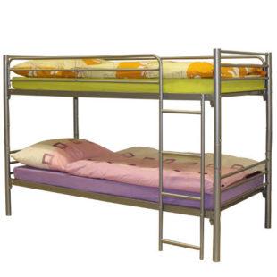 Levná kovová patrová postel rozložitelná na dvě samostatná lůžka