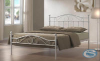 Bílá kovová manželská postel s roštem