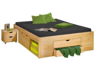 Multifunkční postel masiv borovice 140x200 cm