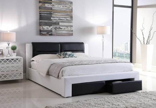 Černobílá čalouněná manželská postel Roma 180x200 cm