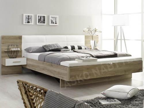 Dřevotřísková manželská postel s nočními stolky a LED osvětlením
