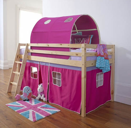 Holčičí postel domeček se zvýšeným lůžkem