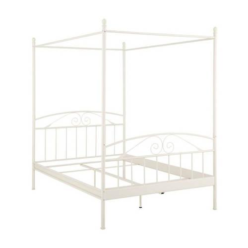 Bílá kovová dvoulůžková postel s nebesy