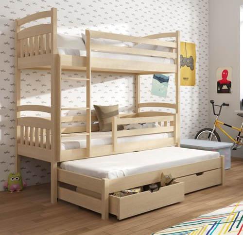 Dřevěná patrová postel pro tři děti