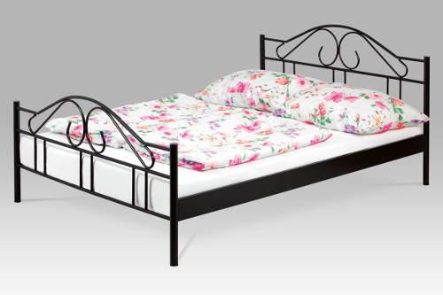 Levná kovová manželská postel černý lesk