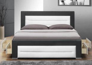 Luxusní černo-bílá moderní postel textilní kůže