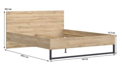 Manželská postel kombinace dřeva a kovu