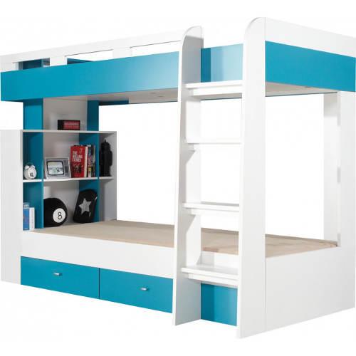 Modrobílá klučičí patrová postel s uložnými prostory