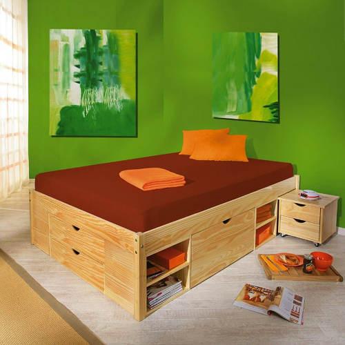 Multifunkční postel s vysuvnými nočními stolky